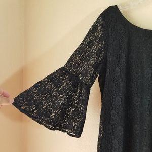 umgee Black Lace Tunic White Fringe Bell Sleeve L